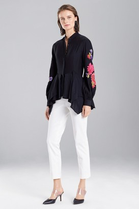 Natori Cotton Like Embroidered Tunic Top