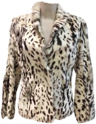 Karl Donoghue White Fur Leather Jacket for Women