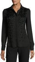 Prabal Gurung Feather-Embellished Pleated-Back Blouse, Black