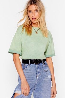 Nasty Gal Womens You Better Acid Wash Out Oversized Tee - Green - M