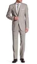 Hart Schaffner Marx Tan Woven Two Button Notch Lapel Wool Suit
