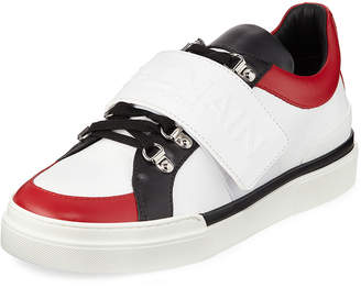 Balmain Men's Tricolor Low-Top Leather Sneakers