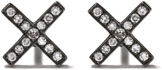 Ef Collection 14kt black gold X diamond stud earrings