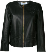Blumarine floral embroidered jacket - women - Leather - 42
