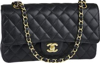 Chanel Classic Double Flap Quilted Caviar Gold-tone Medium Black