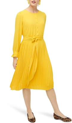 J.Crew Tie Front Pleated Long Sleeve Dress