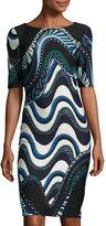Taylor Swirl-Print Scuba Midi Sheath Dress, Black/Blue