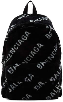 Balenciaga Black Faux-Fur Diagonal Everyday Backpack
