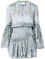 Alexis printed ruffle trim mini dress