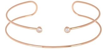 Argentovivo Rose Gold Plated Sterling Silver CZ Wire Cuff