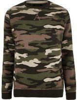 River Island MensDark green camo military sweater