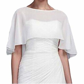 Meibida Women's Bridal Chiffon Shawl Wedding Shawl Bridal Wrap Jacket Shawl (ivory XL)