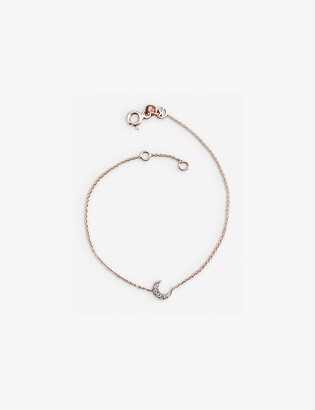 THE ALKEMISTRY Kismet by Mika Crescent moon diamond and 14ct rose-gold bracelet