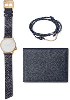 Miansai - Gold-plated Watch, Cord Wrap Bracelet And Pebble-grain Leather Wallet Set
