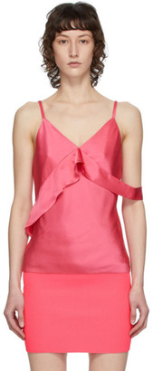 Helmut Lang Pink Double Satin Sash Camisole