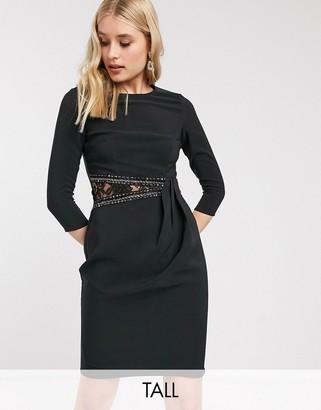Little Mistress long sleeve waist detail shift dress