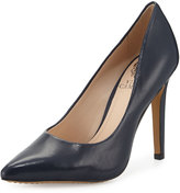 Vince Camuto Kain Pointed-Toe Leather Pump, Midnight