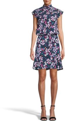 Nicole Miller Midnight Floral High Neck Mini Dress