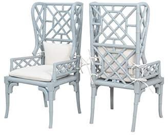 Sterling Home Bamboo Wing Back Chairs In Manor Slate - Set of 2 seating