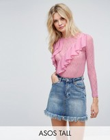 ASOS Tall ASOS TALL Long Sleeve Top in Lace with Woven Ruffles