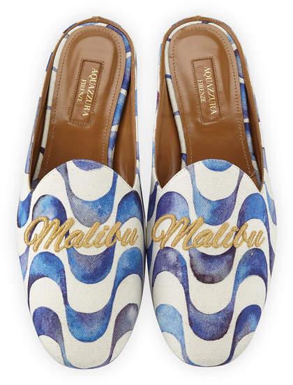 Aquazzura Malibu Wave-Print Loafer Slide, Blue Pattern
