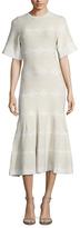 Derek Lam Print Drop Waist Midi Dress