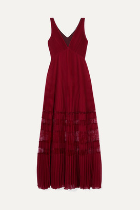 Self-Portrait Lace-trimmed Pleated Chiffon Maxi Dress - Burgundy