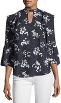 Collective Concepts Floral-Print Ruffle Keyhole Blouse, Navy