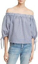 Aqua Gingham Off-The-Shoulder Tie Sleeve Top - 100% Exclusive