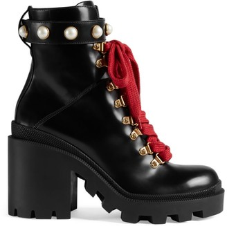Gucci Trip Leather Booties with Color Laces
