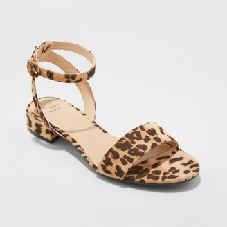 A New Day Women's Winona Leopard Print Ankle Strap Sandals