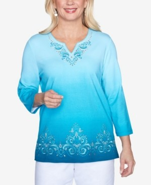 Alfred Dunner Women's Colorado Springs Ombre Scroll Embroidery Top