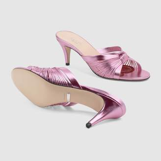 Gucci Metallic leather mid-heel sandal