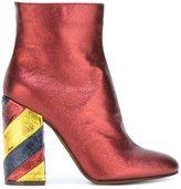 L'Autre Chose striped block heel ankle boots