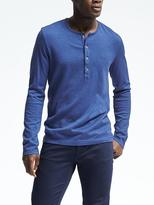 Banana Republic Cotton Wool Silk Henley Crew