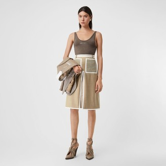 Burberry Box-pleat Detail Wool Cashmere A-line Skirt