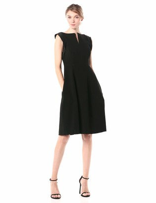 Halston Women's Cap Sleeve Notched Wide Boatneck Dress