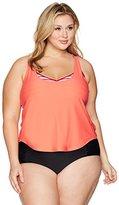 Coastal Blue Women's Plus Size Active Swimwear 2-in-1 Tankini Top