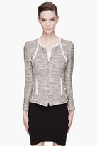 IRO Ivory and bronze metallic leather-trimmed woven jacket