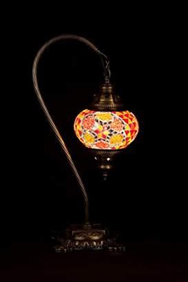 Handmade Turkish Lamp Moroccan Ottoman Style Mosaic Swan Neck Desk Table Light Bedroom Restaurant Cafe Decoration Lamp (Red & Orange)