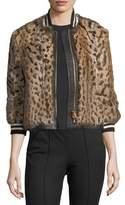Veronica Beard Etta Leopard-Print Fur Bomber Jacket