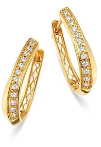 Bloomingdale's Diamond Twisted Oval Hoop Earrings in 14K Yellow Gold, 0.25 ct. t.w. - 100% Exclusive