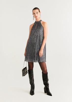 MANGO Metallic thread dress grey - 2 - Women