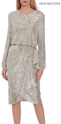 Gina Bacconi Womens Silver Pieta Sequin Dress - Silver