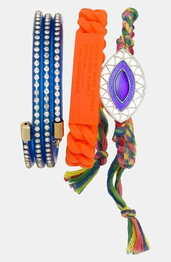 Carbon Copy Jewelry 'Evil Eye' Braided Bracelet Orange Green