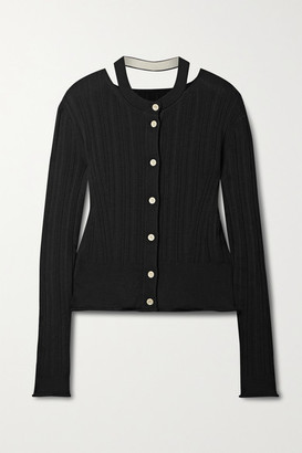 Proenza Schouler White Label Cutout Ribbed Silk And Cotton-blend Cardigan - Black