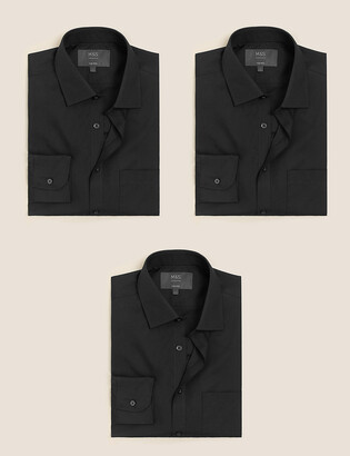 Marks and Spencer 3 Pack Tailored Fit Long Sleeve Shirts