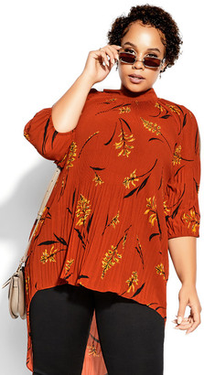 City Chic Leaf Floral Top - rust