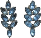 One Kings Lane Vintage 1950s Blue Rhinestone Leaf Earrings