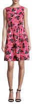 Oscar de la Renta Floral Printed Flared Dress